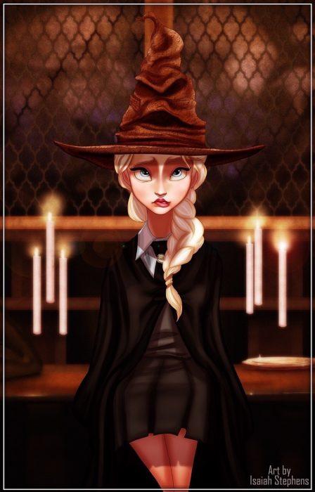 mujer rubia con sombrero de bruja