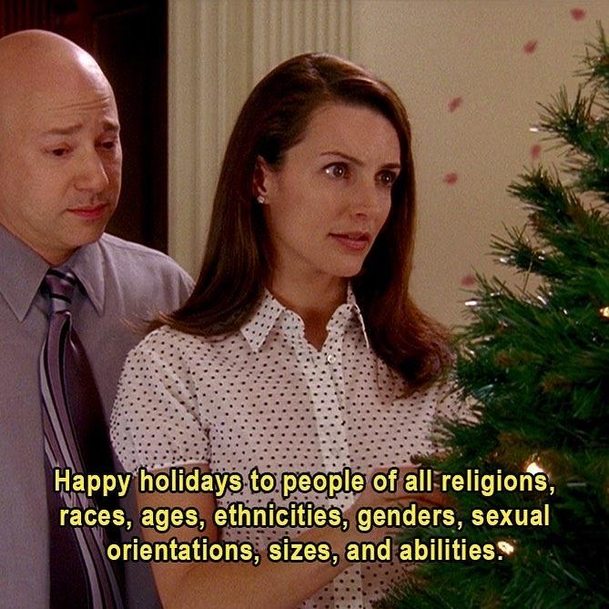 hombre calvo y mujer en el pinto de navidad