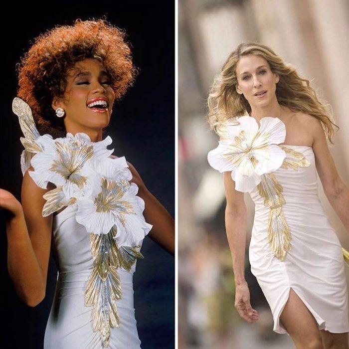 mujer morena con vestido blanco y mujer rubia con vestido blanco