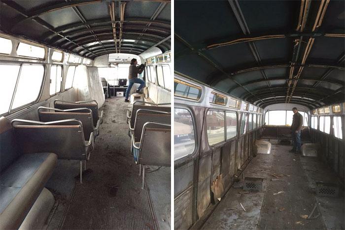 camión con asientos y sin asientos