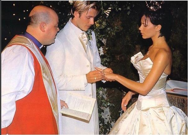 David beckham y victoria el día de su boda