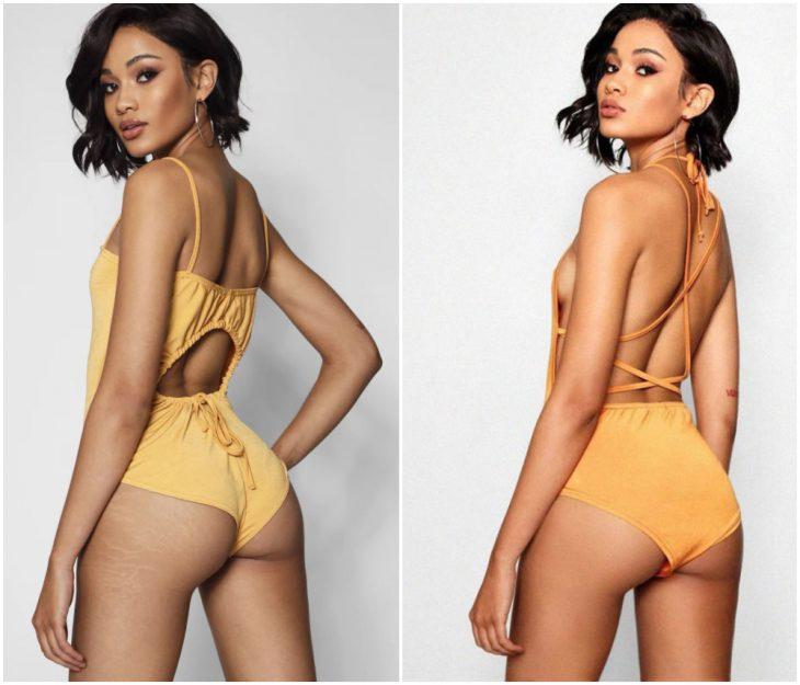 chica usando bañador amarillo