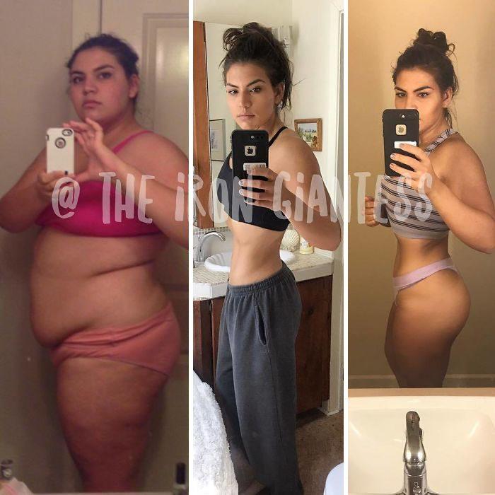 proceso de perdida de peso de una chica que hace pesas