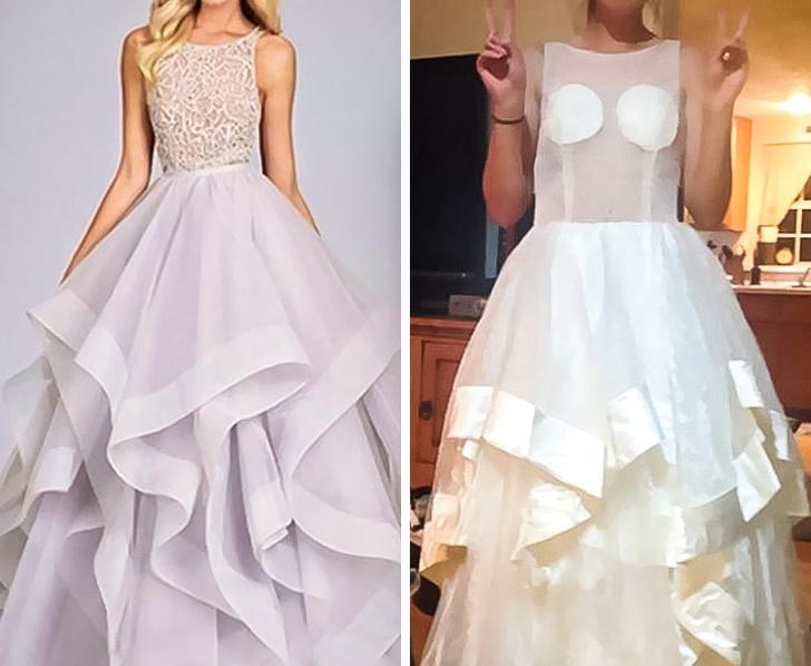Chica con un vestido falso de internet