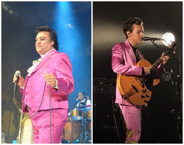 hombres usando trajes en rosa