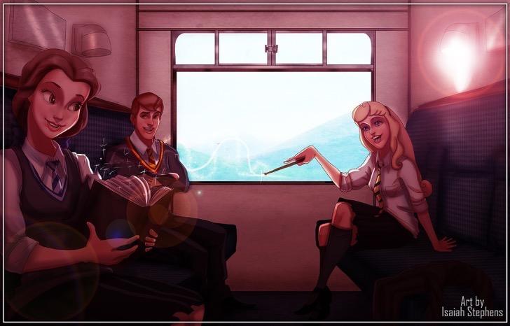 mujeres y hombres caricatura en tren