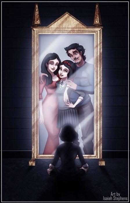 espejo mujer y hombre con niña caricatura