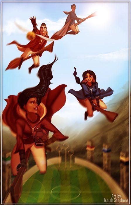 ilustración mujeres y hombres volando escobas