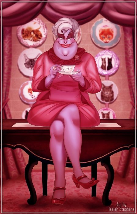 mujer rosa tomando té ilustración