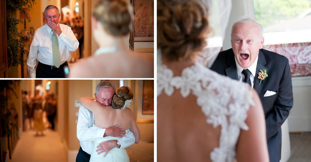 Imágenes de padres derramando lagrimas al ver a sus hijas vestidas de novias