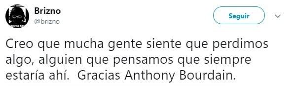 Tiut sobr ela muerte de Anthony Bourdain