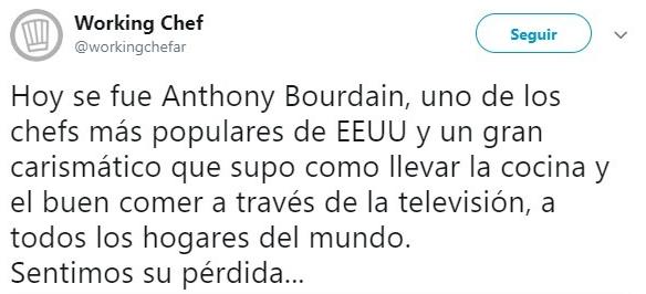 Tiut sobre la muerte de Anthony Bourdain
