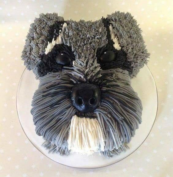 pastel de perrito color gris