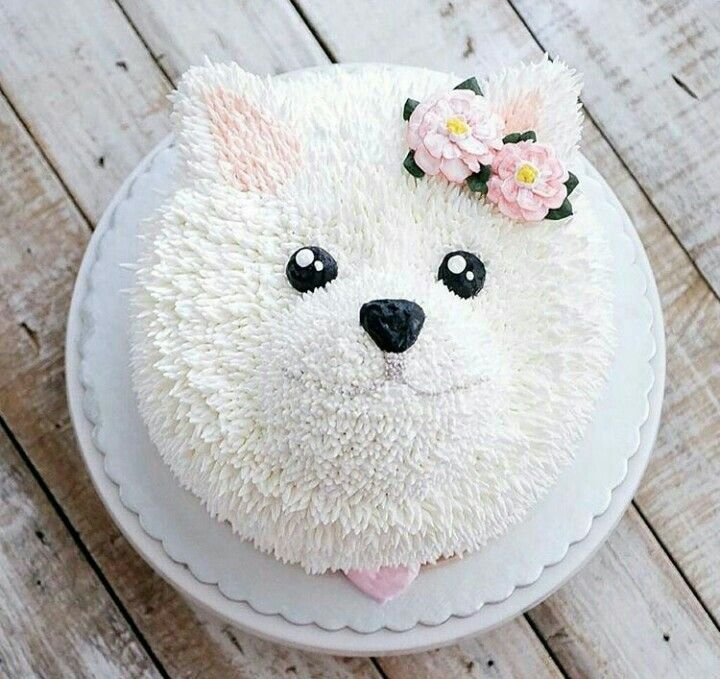 pastel de perrito blanco