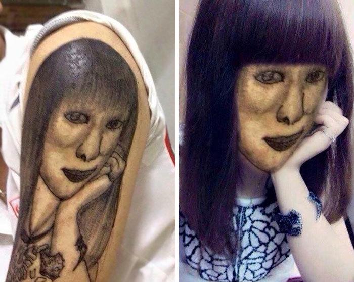 Tatuaje extraño de una chica con cabello largo