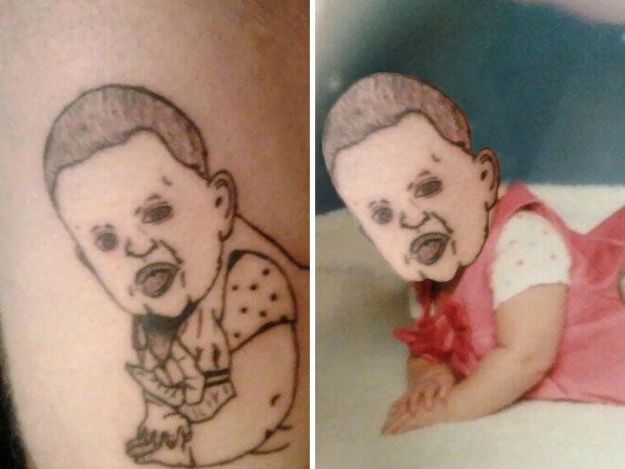 Tatuaje extraño de una bebé