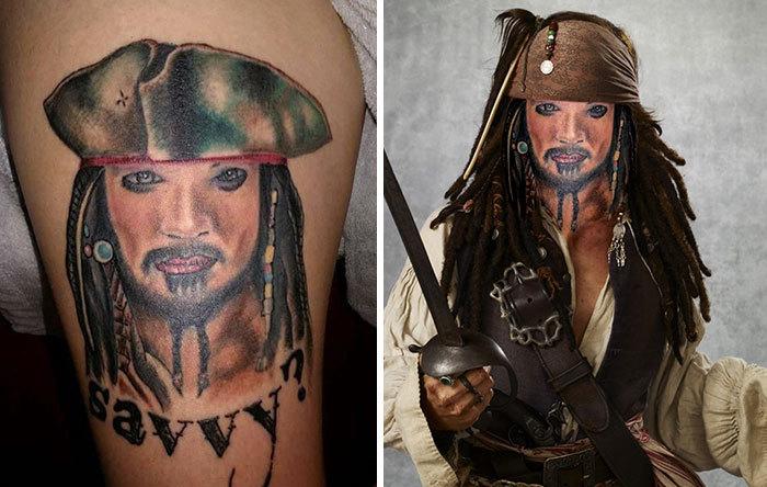 Tatuaje extraño de jack Sparrow