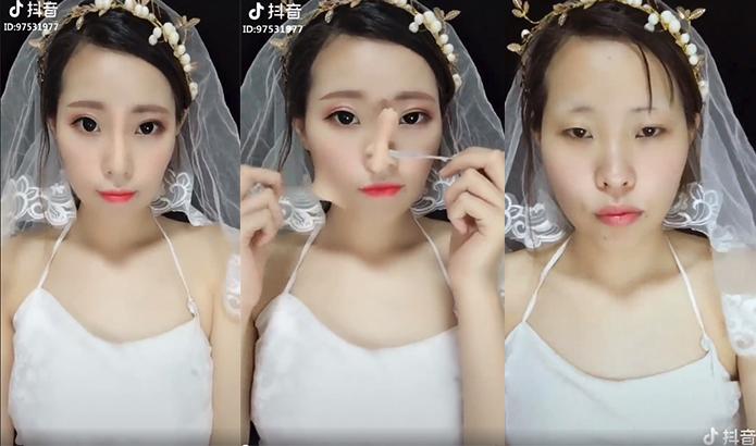 Transformacion con y sin maquillaje de chica koreana