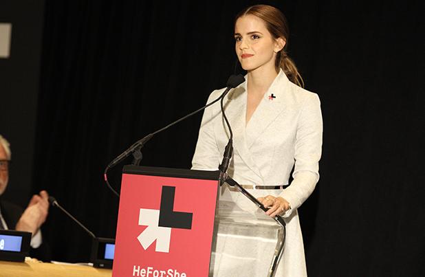 Emma Watson dando un discurso en la ONU