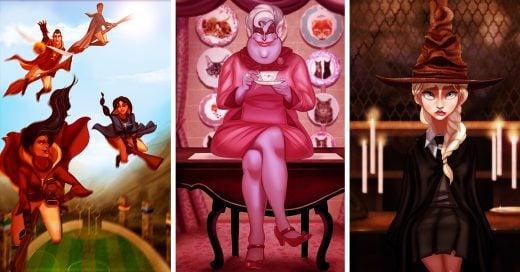 Así se verían los personajes de Disney si fueran a Hogwarts. Blancanieves me hizo llorar muchísimo