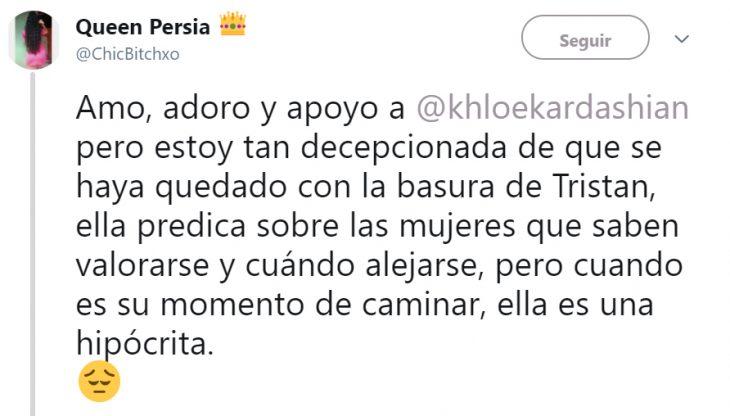 Comentarios en Twitter sobre la reconciliación de khloe con tristan