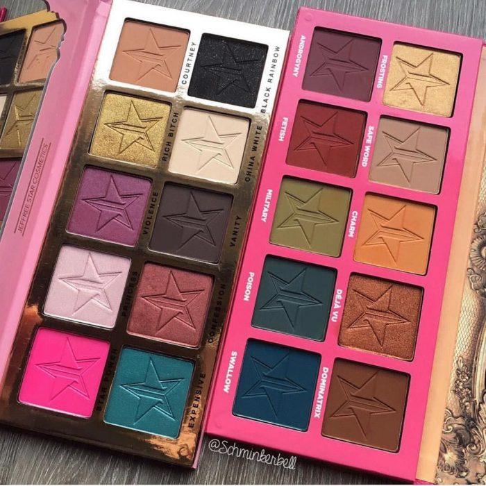 paletas de maquillaje con sombras de colores