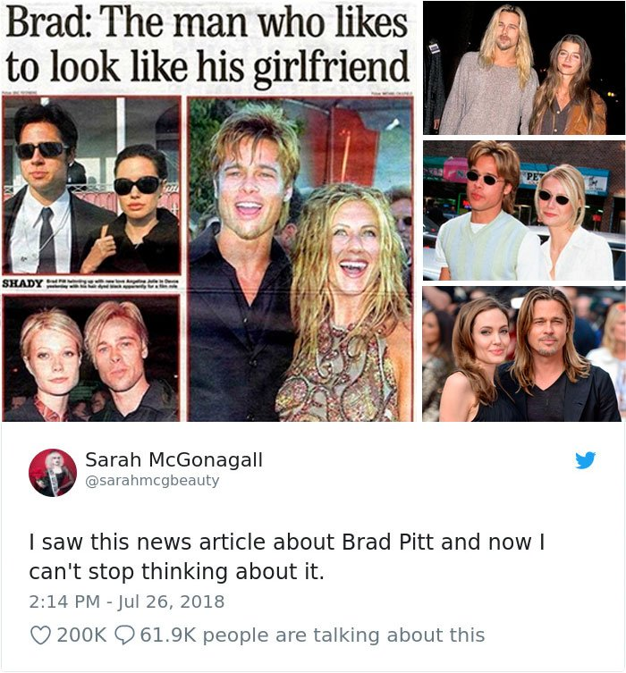 Articulo del periodico que dice que Brad Pitt comparte estilo con sus parejas