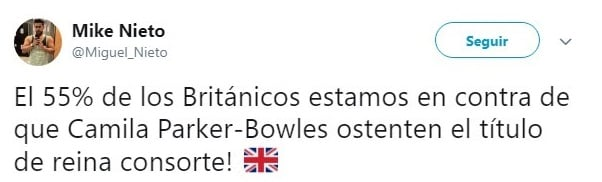 comentario Twitter sobre la realeza inglesa