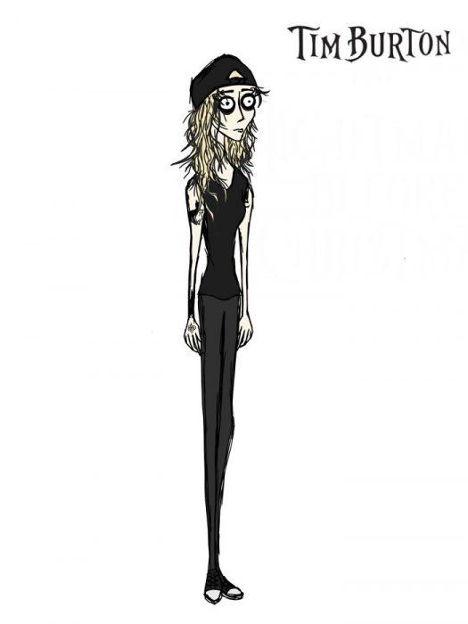 chica dibujada como una caricatura