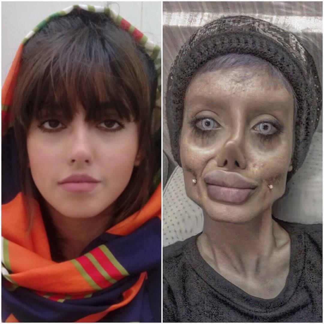 Sahar Tabar chica nombrada jolie zombie con su rostro al natural y caracterizada como angelina jolie