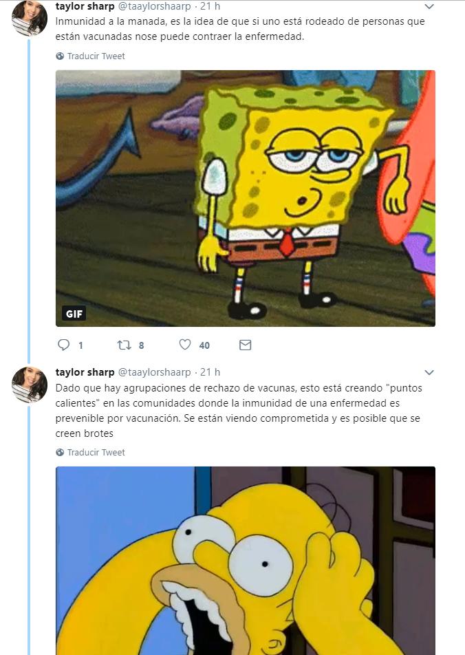 Comentario en twitter de una chica que explica las vacunas