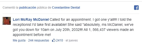 Comentarios en Facebook sobre el dentista que baila