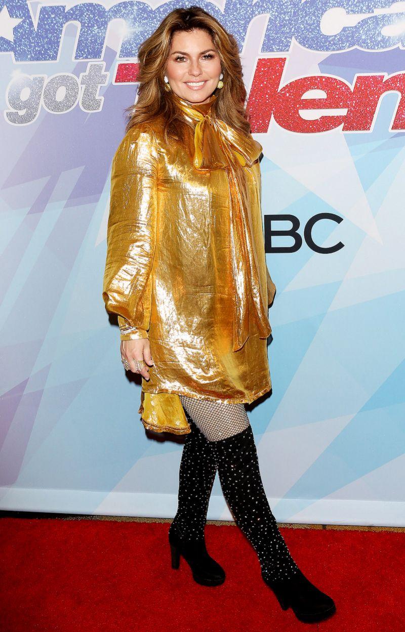 Shania Twain en la alfombra roja de america got talent
