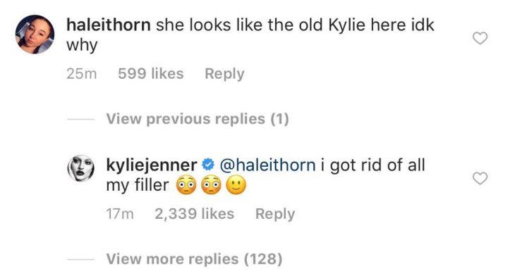 Respuesta de Kylie Jenner en Instagram sobre el relleno de sus labios