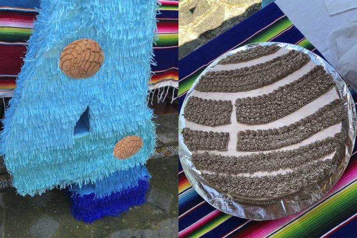 Piñata y pastel de concha de pan dulce
