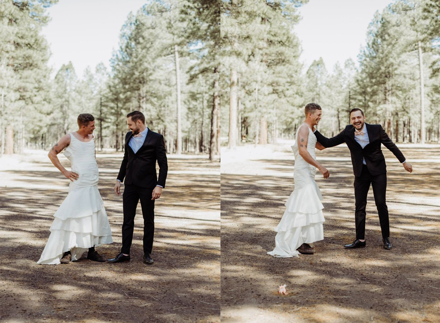 Novio y hermano de la novia posando en una sesión de fotos