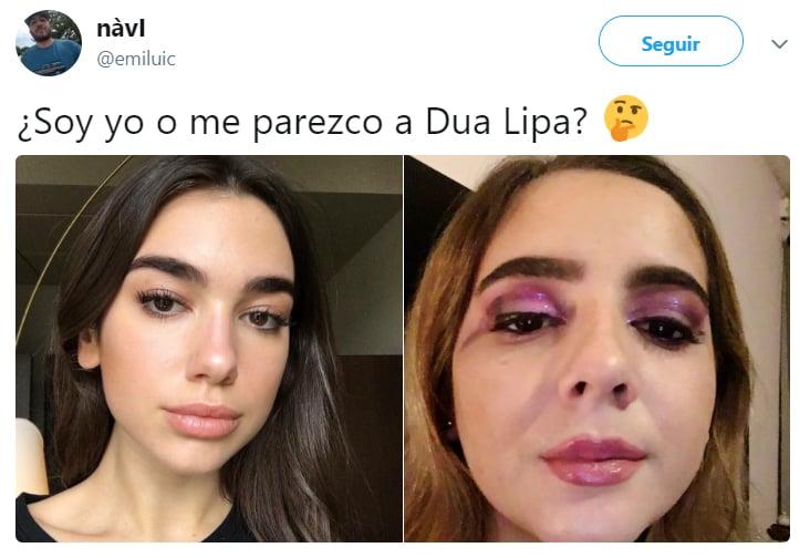 Comentarios en twitter de personas que dicen parecerse a Dua Lipa