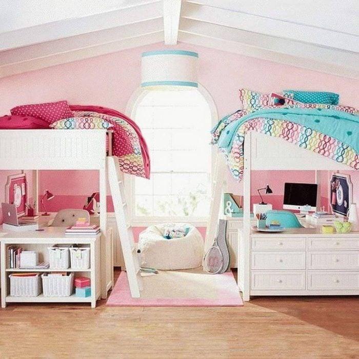 Habitación para hermanas en diferentes colores