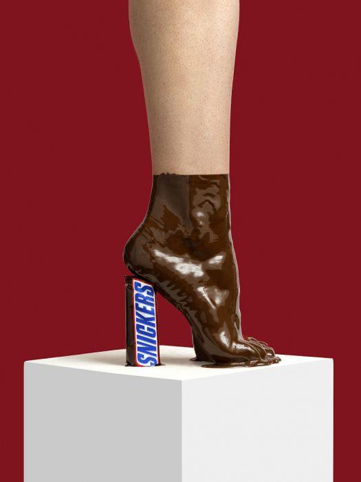 Zapatos creados con chocolate