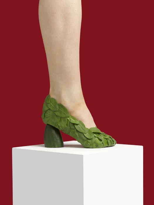 Zapatos creados con hojas verdes