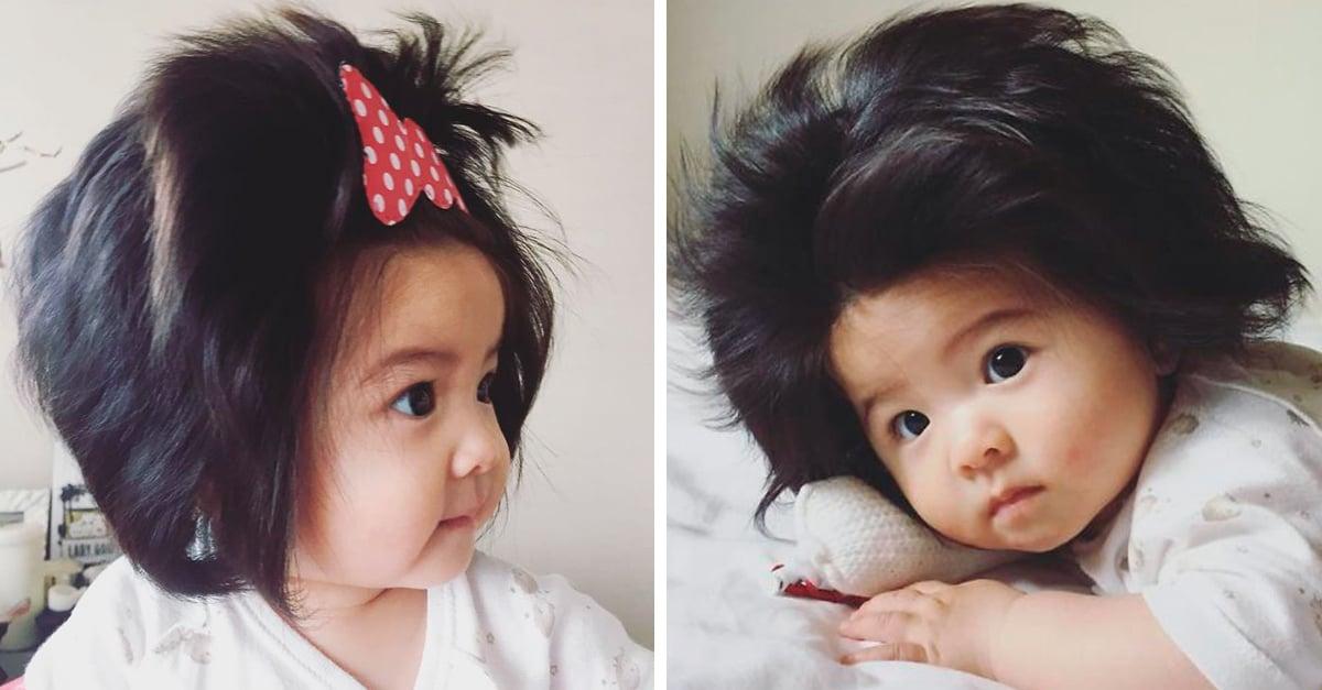 Esta bebé solo tiene 6 meses, pero su cabellera es tan abundante que te dará envidia