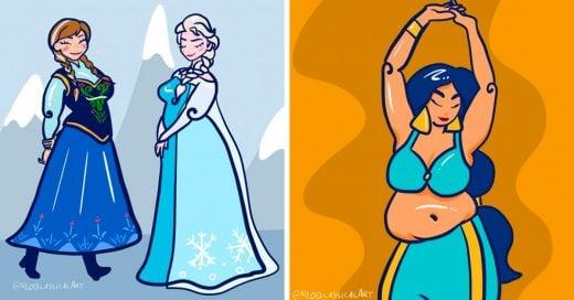 Esta artista dibujó princesas Disney de talla plus para promover el amor corporal