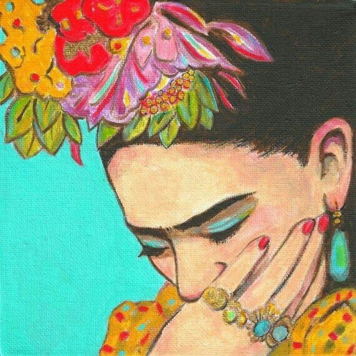pintura de mujer con mano en la boca y flores