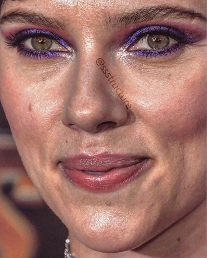 Scarlett Johansson de cerda y sin photoshop