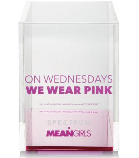 vaso cuadrado con frase color rosa