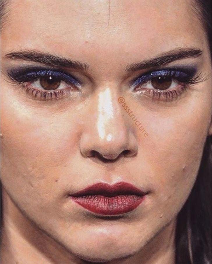 Kendall Jenner de cerca y sin photoshop