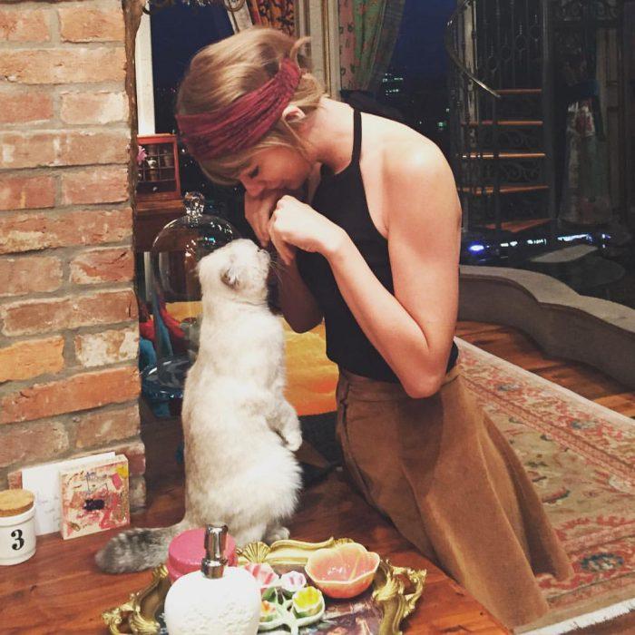 chica jugando con un gato