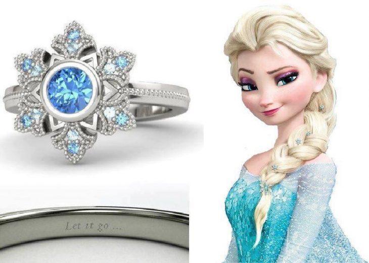 anillo para dama azul