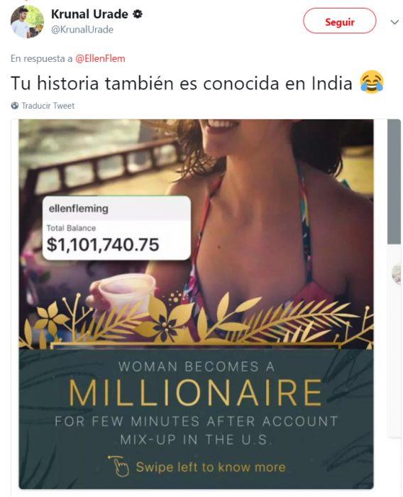 Comentarios en twitter de una chica que recibió un millón de dólares