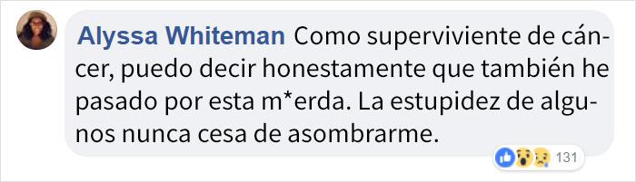 Comentarios en facebook acerca de un chico que piensa que el cancer es contagioso